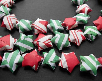 Lucky Star paper Garland 56 red and green Origami Stars Black Friday Cyber Monday Christmas Decor