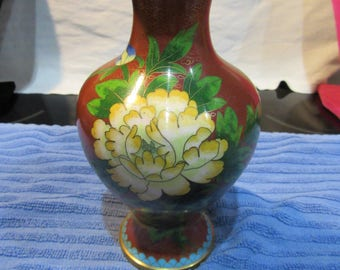 Vintage Red and Yellow Cloisonne with Flowers and Birds