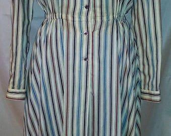 "BIG SUMMER SALE 70s Vintage Adolfo Sport Day Dress-Shirtwaist-Size 4-Small-36"" Bust-Office-Preppy Resort Casual Secretary Student"