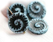 ON SALE Blue and black beads, czech glass, spiral beads, circle, large, round, fossil, snail, tablet shape - 17mm - 4Pc - 2191