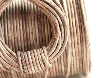 2mm Natural Leather round cord - Distressed Vintage Taupe, Light beige brown - 10 feet, LC066