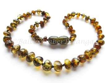 Baltic Amber Teething Necklace, Green Baroque Beads