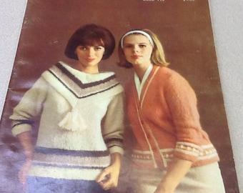 1963 Bernat Mohair Knitting Pattern book