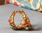 Vintage 1960s Signed Judith McCann Brutalist Textured Gold Hoop Earrings with Red Blue Black Green Settings Pierced