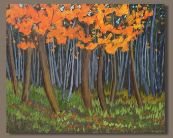 Fall Collection 2017 - landscape painting, fall colors, maple trees, autumn landscape, fall painting, orange, forest painting, impressionist