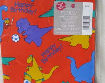 Vintage Colorful Dinosaur Wrapping Paper