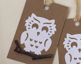 100 Owl Owls Gift Tags Gift Cards Party Favors Rustic Wedding