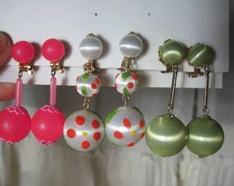3 pairs 1960's GoGo earrings