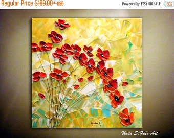Summer SALE Original Abstract Red Poppies Painting, Palette Knife, Impasto, Modern Textured Artwork on Canvas, Acrylic Painting, Wall Art