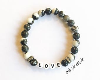 CUSTOM Name/Word Marbled Natural Stone Bracelet