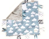 Blue Skies - Baby Boy Toy + tag lovey sensory security blanket gray faux fur minky - modern blue grey black personalized embroidered clouds