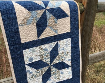 Quilted Star Wall Hanging, Table Runner, Blue Star Runner