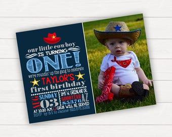 Cowboy Birthday Invitation Western Birthday Invitation Cowboy Party Cowboy Invitation Cowboy Invite Boy Birthday 1st Birthday Invitation