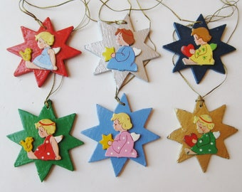 6 Vintage 50s German Hand Made Wooden Angel Star Shaped Flat Christmas Tree Ornaments
