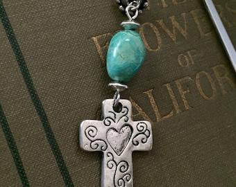 ON SALE Southwestern Cross Bookmark, Turquoise Cross Bookmark, Faith, Thank You Gift, Useful Gift, Christianity, Book Club, Stocking Stuffer