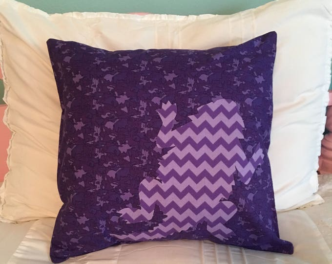 Purple Camouflage TCU Horned Frog Pillow 16x16 Pillow Cover with Purple Chevron Applique Frog RTS