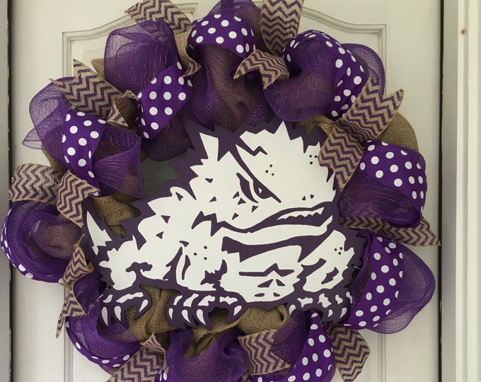 Stunning Oversized TCU Handpainted Purple and Burlap Wreath TCU Decor Holiday Wreath Gameday