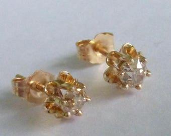 Antique .54 1/2 ctw Fancy old cut diamond buttercup stud earrings