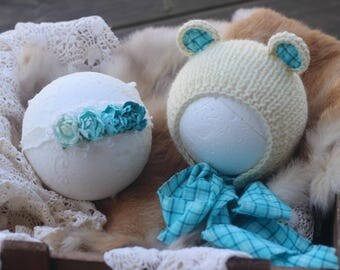 RTS, turquoise blue cream twin baby boy girl knitted bear bonnet hat headband, twins photo prop,newborn photography prop, baby shower gift