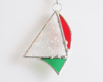 Red Green and Vintage Clear geometric glass suncatcher