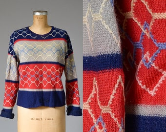 1930s Sweater Distressed Red Blue Grey Knit Novelty Sweater
