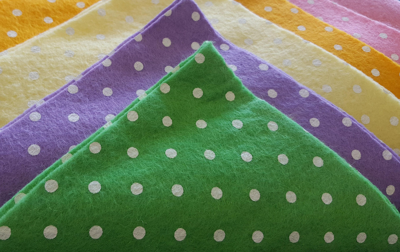 Craft felt polka dot squares x 10 sheets 12 square for Polka dot felt fabric