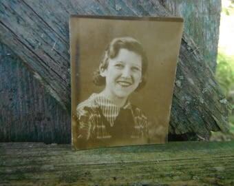 Vintage Gem Miniature Photo - Friendly Lady