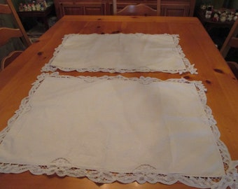 Set of Two Vintage Old Battenburg Lace and Hand Embroidered Pillow Shams or Pillowcases  White on White