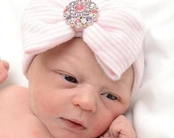 SALE 25% OFF READY To Ship Newborn hat, newborn hospital hat with bow, newborn girl hat,  hospital newborn hat, newborn hat, baby hat, baby