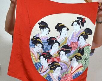 Vintage  Japanese rayon scarf, Geisha scarf ,Cherry Blossoms Sakura scarf