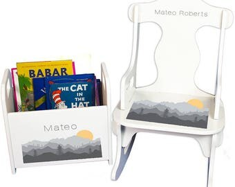 Personalized Puzzle Rocker and Book Caddy set with Misty Mountain Design-rknrd-245