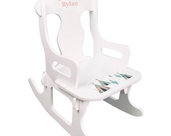 Personalized White Puzzle Rocking Chair with Coral TeePee Design-puzz-whi-242b