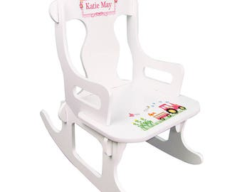 Personalized White Puzzle Rocking Chair with Pink Tractor Design-puzz-whi-211d