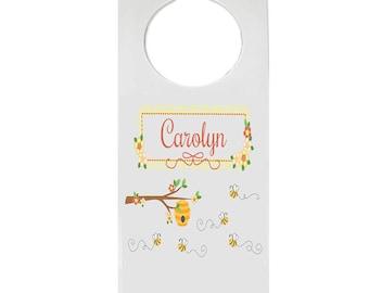 Personalized Door Hanger with Honey Bees Design-hang-338