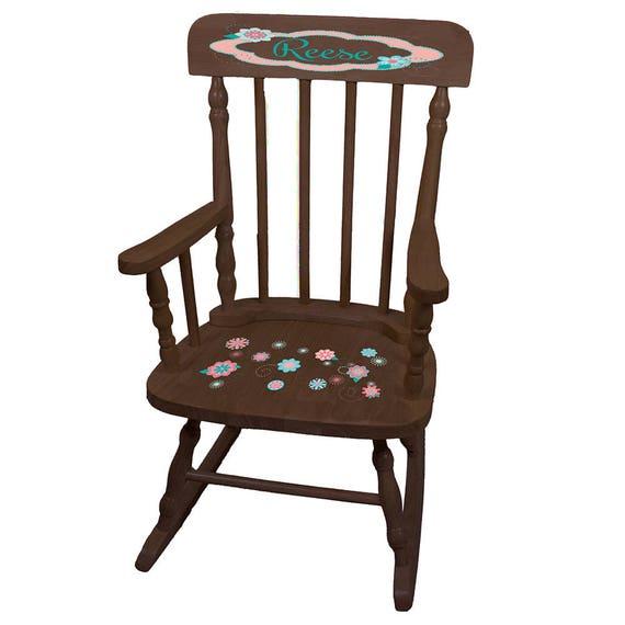 Personalized Coralscope Espresso Childrens Rocking Chair Peach Lilac ...