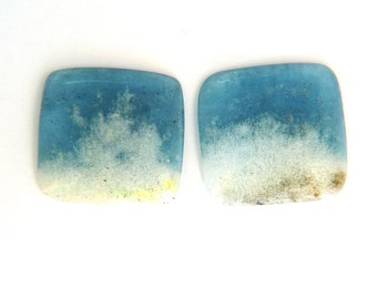 Aquamarine & Goshenite Designer Gemstone Pair 23.7x24.4x3.8 mm 37.4 carats Free shipping