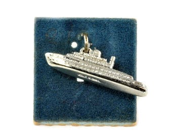 Vintage Charm - Sterling Silver Travel Charm for Bracelet - Cruise Ship - Traditional Charm by Wells - Gift For Grad  Travel Momento