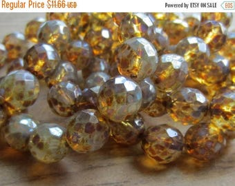 ON SALE Czech Glass Bead 12mm Round Fire Polish Champagne Opal Picasso 1 Strand