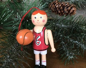 Vintage Basketball Player Wooden Ornament / Vintage Christmas Ornament