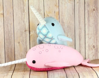 Custom narwhal plush toy, Narwhal soft toy, Whale Plushie, Pastel Narwhal Endangered Animal, Stuffed Sea Creature, Baby Shower Gift