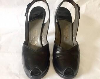 Vintage 1940s Glenwood Shoes Black Leather Peep Toe Slingback Heels 8 Narrow