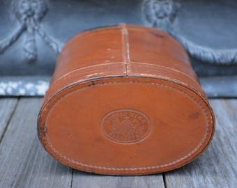 Unusual Antique Edwardian Leather Collar Box | Vintage Mens Wardrobe Accessories | Oval Leather Box