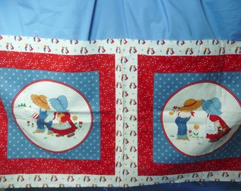 Sunbonnet Sue and Overall Sam Fabrics Pillow or Quilt Block Panel , Cranston Printworks, VIP