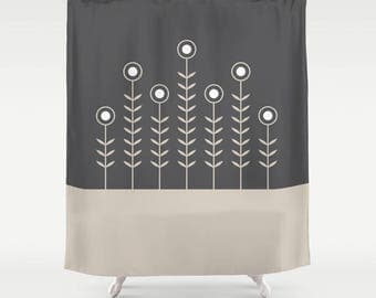 27 colours, Spring Shoots Shower Curtain, Scandinavian style, Oyster Beige, Charcoal black geometric decor, flower pattern bathroom decor