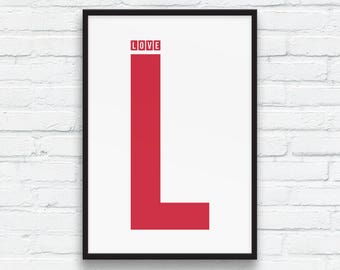 LOVE Word and Letter Print, Red and White, L-Plate fun, Nordic art, Typographic Wall Art, Gifts for her, Gifts for him, Minimalist Printable
