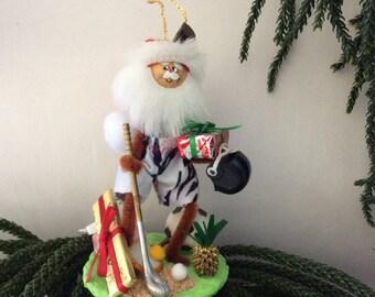 Sports Fan - Hawaiian Christmas Ornament - Hawaii St. Nick - Santa - Merry's Christmas - Soccer -  golf - football - tennis