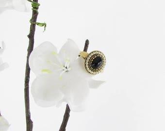 SALE Victorian Inspired Gold Obsidian Ring - Vintage Avon Adjustable Ring Size 5 6