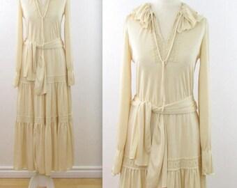 SALE Boho Tiered Peasant Dress - Vintage 1970s Festival Prairie Dress in Medium Large