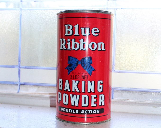 Large Vintage Blue Ribbon Baking Powder Tin 3 Lb Size