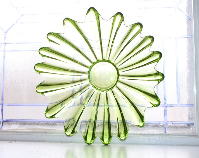 Vintage Mid Century Bowl Green Glass Ribbed 1950s